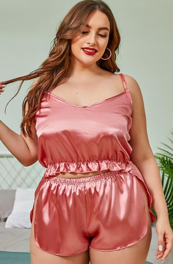 Set pigiama da 2 pezzi con gilet e pantaloncini in raso rosa estivo taglie forti