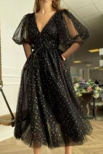 Abito da ballo scintillante nero elegante formale estivo