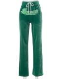 Pantaloni di velluto verde con stampa di lettere casual autunnali