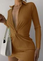 Mini vestido de fiesta de otoño de color caqui sexy con escote en V profundo