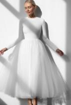Herbst formales elegantes weißes Mesh-Abschlussballkleid