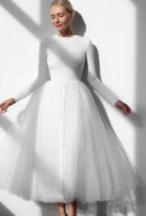 Abito da ballo in rete bianca elegante formale autunno