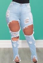 Jeans strappati blu a vita alta taglie forti autunno