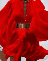 Vestido corto con volantes y mangas abullonadas rojo formal de otoño con cinturón