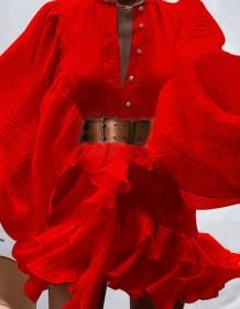 秋のフォーマルな赤いパフスリーブフリルベルト付きショートドレス