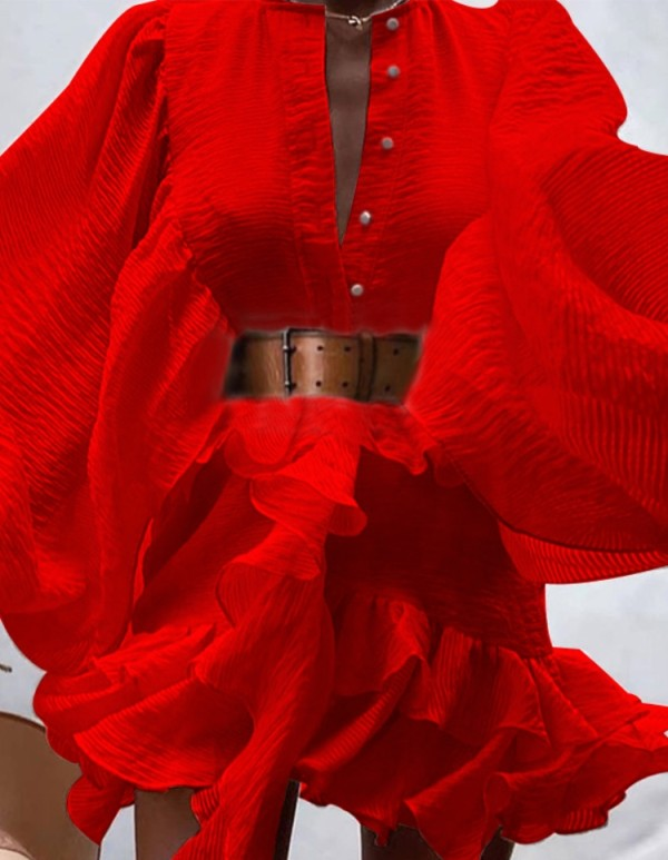 Autunno formale rosso maniche a sbuffo Ruffles Abito corto con cintura