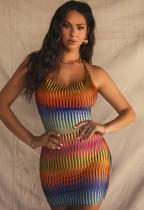 Sommer Print Sexy Neckholder Mini Bodycon Kleid