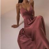 Abito skater lungo con cinturino rosa elegante formale estivo