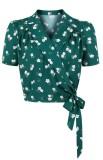 Camicetta a portafoglio vintage verde floreale con stampa estiva