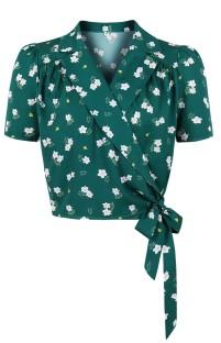 Зеленая винтажная блуза с запахом и летним принтом с цветочным принтом