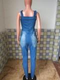 Tuta di jeans strappata con cinturino largo blu estivo con zip