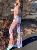 Pantaloni a zampa di elefante a vita alta con stampa estiva