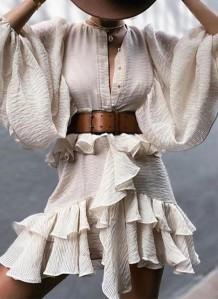 秋のフォーマルベージュパフスリーブフリルベルト付きショートドレス