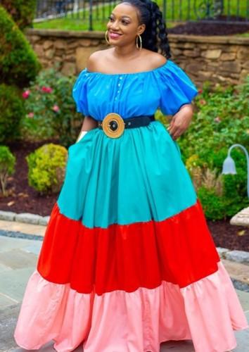 Vestido largo formal largo con hombros descubiertos y bloques de color de verano