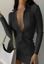 Mini vestido de fiesta de otoño negro sexy con escote en V profundo