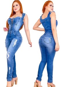 Summer Blue Zip Up Wide Strap Ripped Denim Jumpsuit