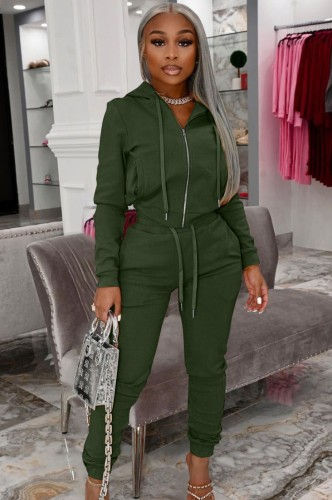 Autumn Casual Green Zip Up Hoody Tracksuit