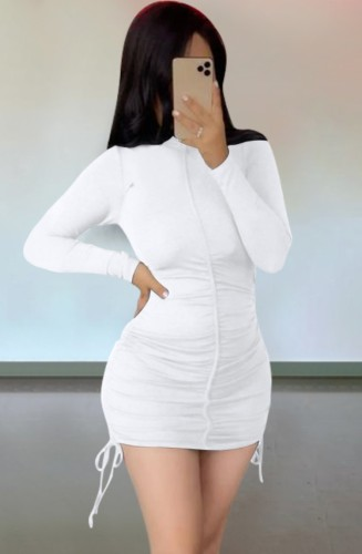 Autumn Casual White Ruched Strings Mini Dress