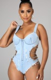 Summer Blue Distressed Cut Out Sexy Chains Strap Bodysuit