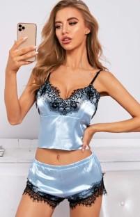 Yaz Mavi Dantel Yama Saten Yelek ve Şort 2 Parça Pijama Takımı
