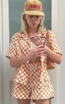 Летняя повседневная блузка и шорты в оранжевую клетку из 2 предметов Lounge Setet