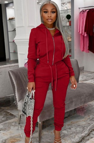 Autumn Casual Red Zip Up Hoody Tracksuit