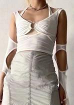 Verano blanco sexy recortado o-ring halter tops
