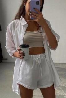 Sonbahar Günlük Beyaz Bluz ve Şort 2 Parça Salon Takımı