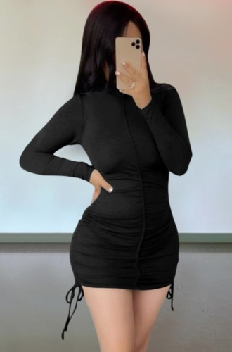 Autumn Casual Black Ruched Strings Mini Dress