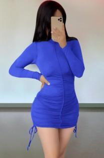 Осеннее повседневное синее мини-платье с рюшами и завязками