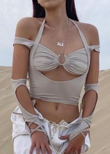 Летние серые сексуальные топы с вырезом на шее с круглым вырезом