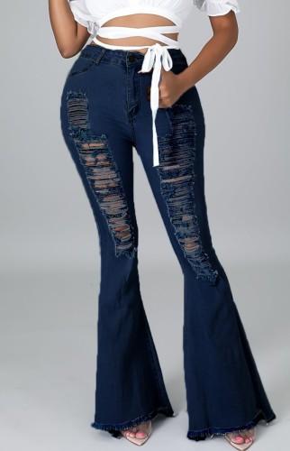 Summer Dark Blue Distressed High Waist Ripped Flare Jeans