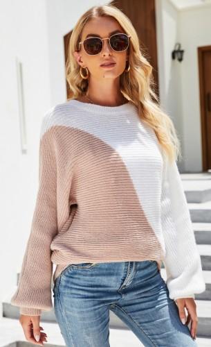 Autumn Color Block O-Neck Pullover Loose Sweater