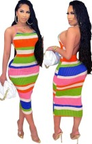Sommer Multicolor Sexy Backless Strap Midi Bodycon Kleid