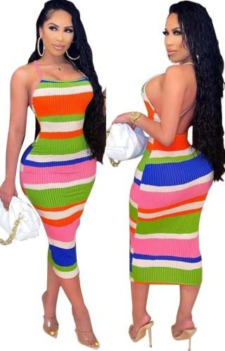 Summer Multicolor Sexy Backless Strap Midi Bodycon Dress
