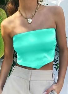 Летний зеленый сексуальный укороченный топ без рукавов