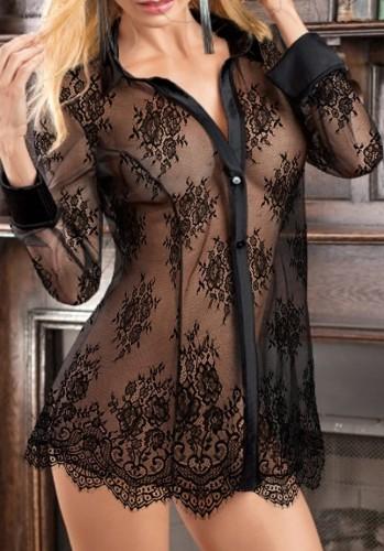 Lingerie com blusa de manga comprida transparente de renda preta verão