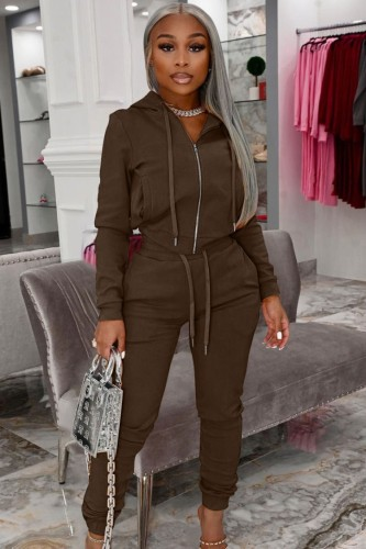Autumn Casual Brown Zip Up Hoody Tracksuit