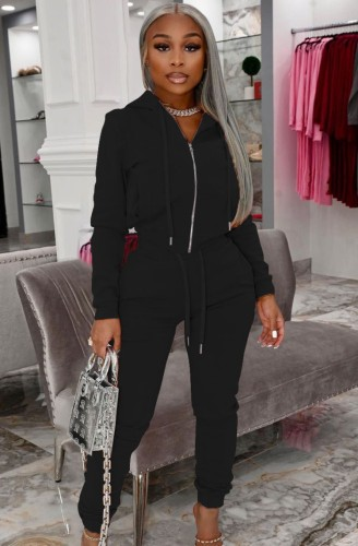 Autumn Casual Black Zip Up Hoody Tracksuit