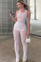 Autumn Casual White Knit Vest and Pants 2 Piece Set