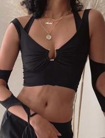 Летние черные сексуальные топы с вырезом и круглым вырезом на шее