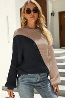 Осенний свободный свитер с круглым вырезом и круглым вырезом