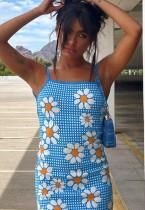 Sommer Casual Floral Blue Strap Minikleid