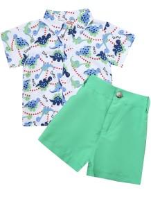 Çocuk Boy Yaz Desenli Bluz ve Yeşil Şort Takım