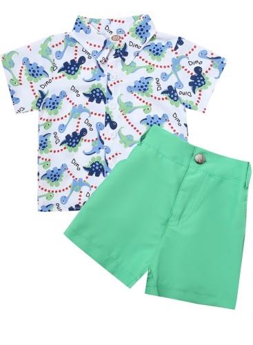 Kids Boy Summer Print Blouse and Green Shorts Set