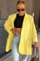 Herbstlicher Umlegekragen Gelber lockerer Blazer mit Taschen
