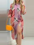 Tam Kollu Sonbahar Günlük Baskı Diz Altı Bluz Elbise