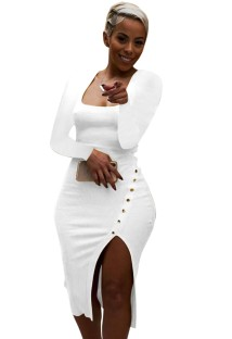 Sonbahar Beyaz Ribanalı Kare Yaka Yırtmaçlı Tam Kollu Midi Elbise