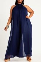 Sommer formaler blauer Jumpsuit mit weitem Bein und U-Ausschnitt