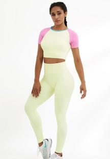 Yaz Renk Bloklu Kısa Kollu Yoga Kısa Üst ve Yüksek Bel Tayt Takım